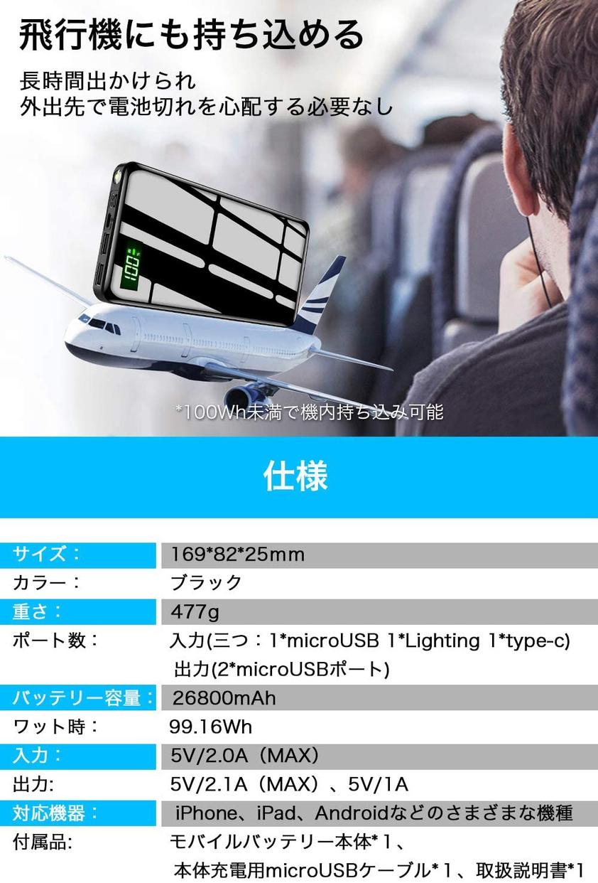 DeliToo 26800mAh超大容量モバイルバッテリー T-05の商品画像8