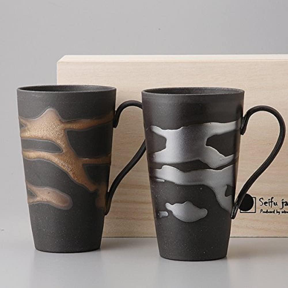 金昇窯(キンショウガマ) 金銀流し ジョッキペア 木箱入り 9-2-61の商品画像2