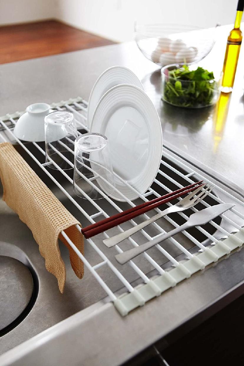 山崎実業(Yamazaki) 折り畳み水切りラック プレート L 7846 ホワイトの商品画像6