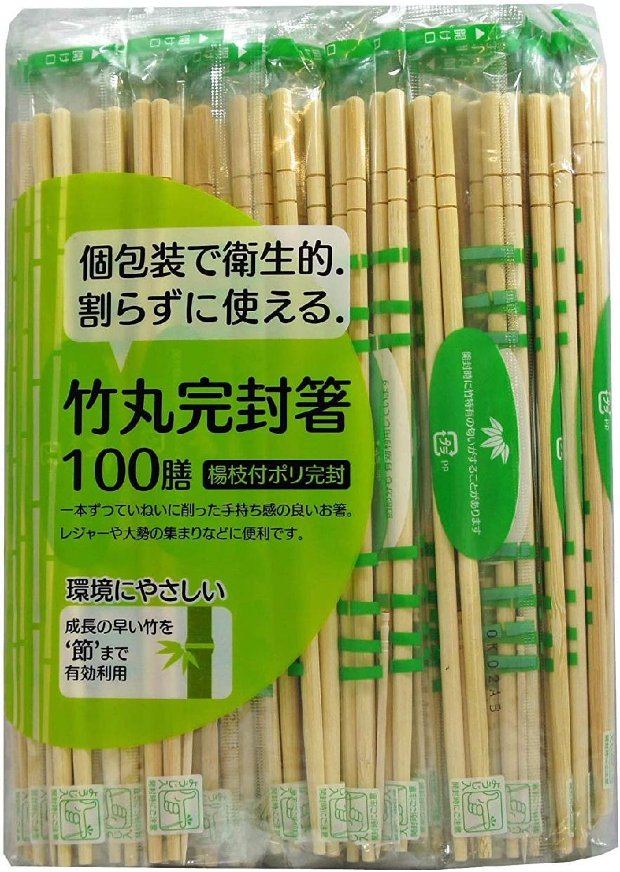 大和物産(だいわぶっさん)節付竹丸ポリ完封箸 100膳 20cmの商品画像