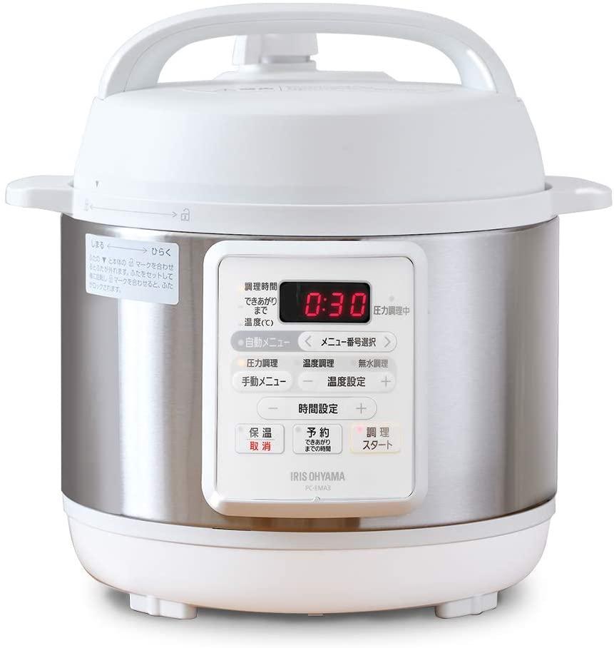 IRIS OHYAMA(アイリスオーヤマ) 電気圧力鍋 3.0L ホワイト PC-EMA3-Wの商品画像