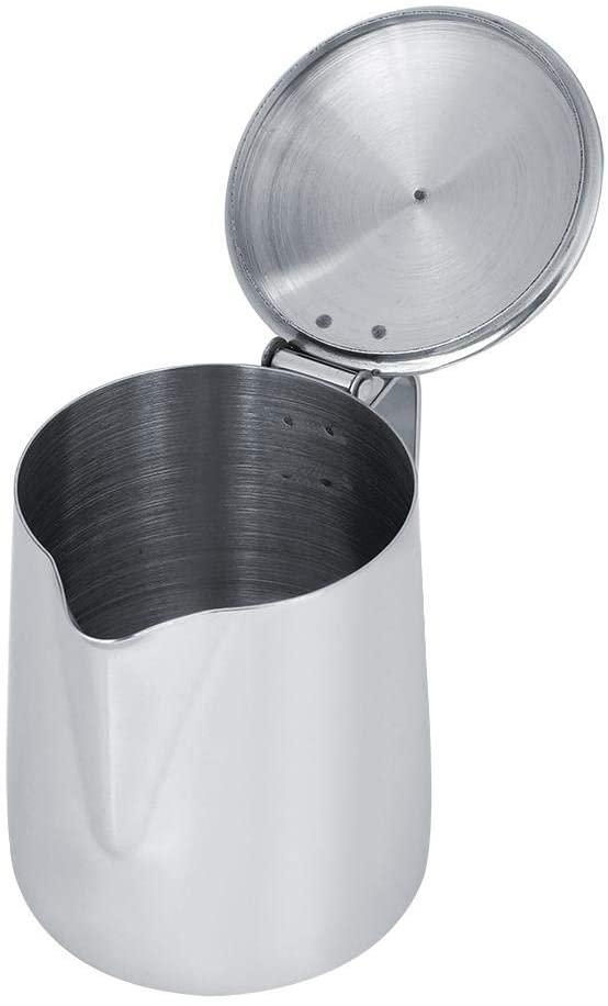 Filfeel(フィルフィール)ラテアート用カバー付きミルク泡立てピッチャーステンレススチール 250ml シルバーの商品画像4