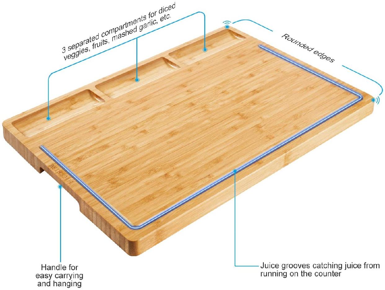 HHXRISE(エイチエイチエックすライズ) 大きいまな板 竹製 トレイ付き L ナチュラルの商品画像2