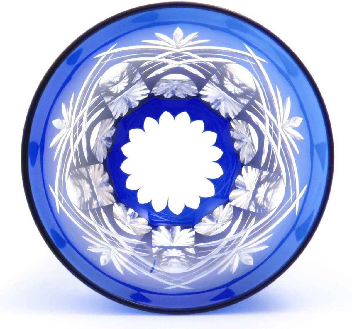 すみだ江戸切子館 焼酎グラス (化粧箱入) 重ね剣矢来 (藍) KY-44の商品画像3