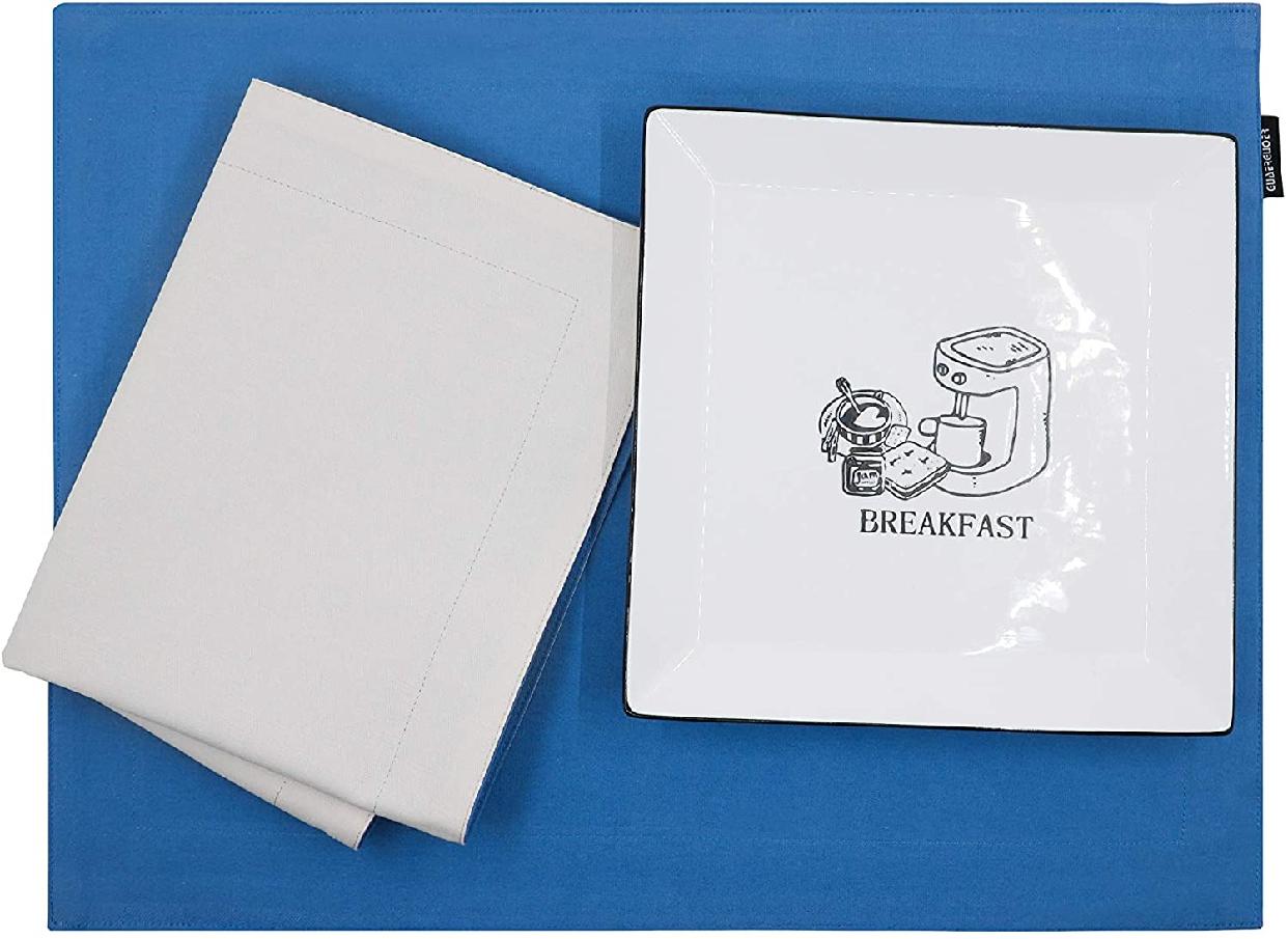 GUAERGUOER(ジーオーイーアールジーユーオーイアー)コットンプレースマット-4枚 B1アクアブルー+白)の商品画像3