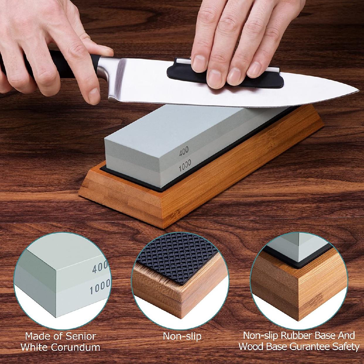 ASEL 両面砥石包丁研ぎ器 2枚 グレーの商品画像6