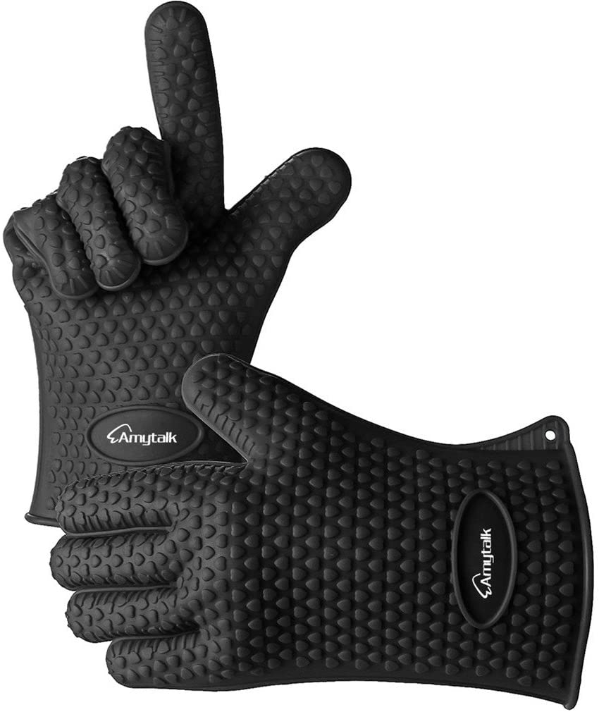 AmyTalk(アミートーク) 耐熱シリコン手袋 5本指キッチン手袋 (ブラック)の商品画像