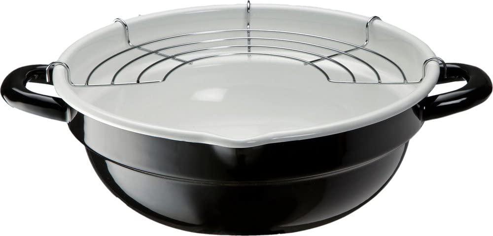 高木金属(タカギキンゾク)ホーロー天ぷら鍋 24cm ブラック&ホワイト TP-24R-BWの商品画像