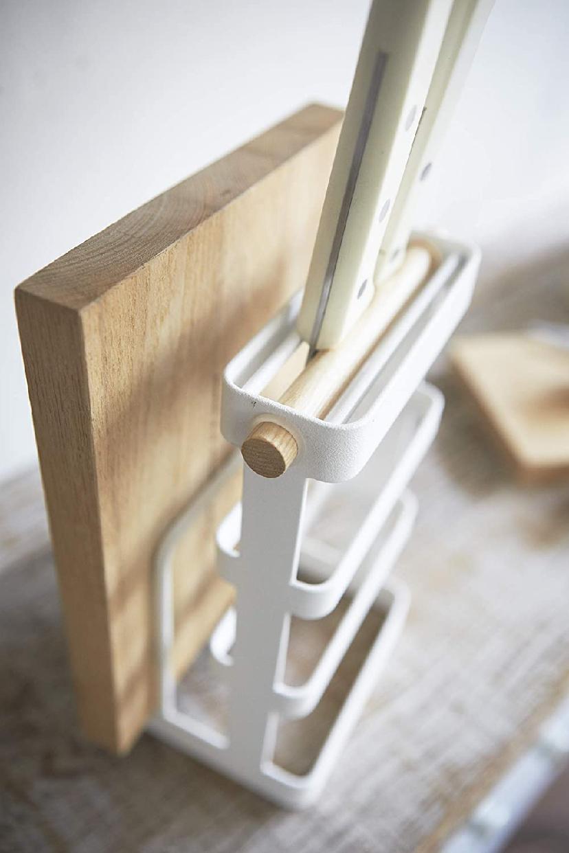 山崎実業(Yamazaki) 包丁&まな板スタンド トスカ ホワイト 2421の商品画像3