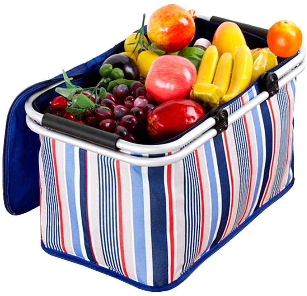 NATUCE(ナチュス)ピクニックかご 折りたたみフルーツバスケット ブルーの商品画像6