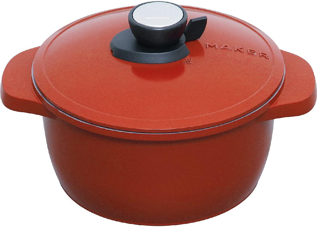MAKER(マーカー) 無加水鍋 20cm IH対応 レッド MKSN-P20の商品画像