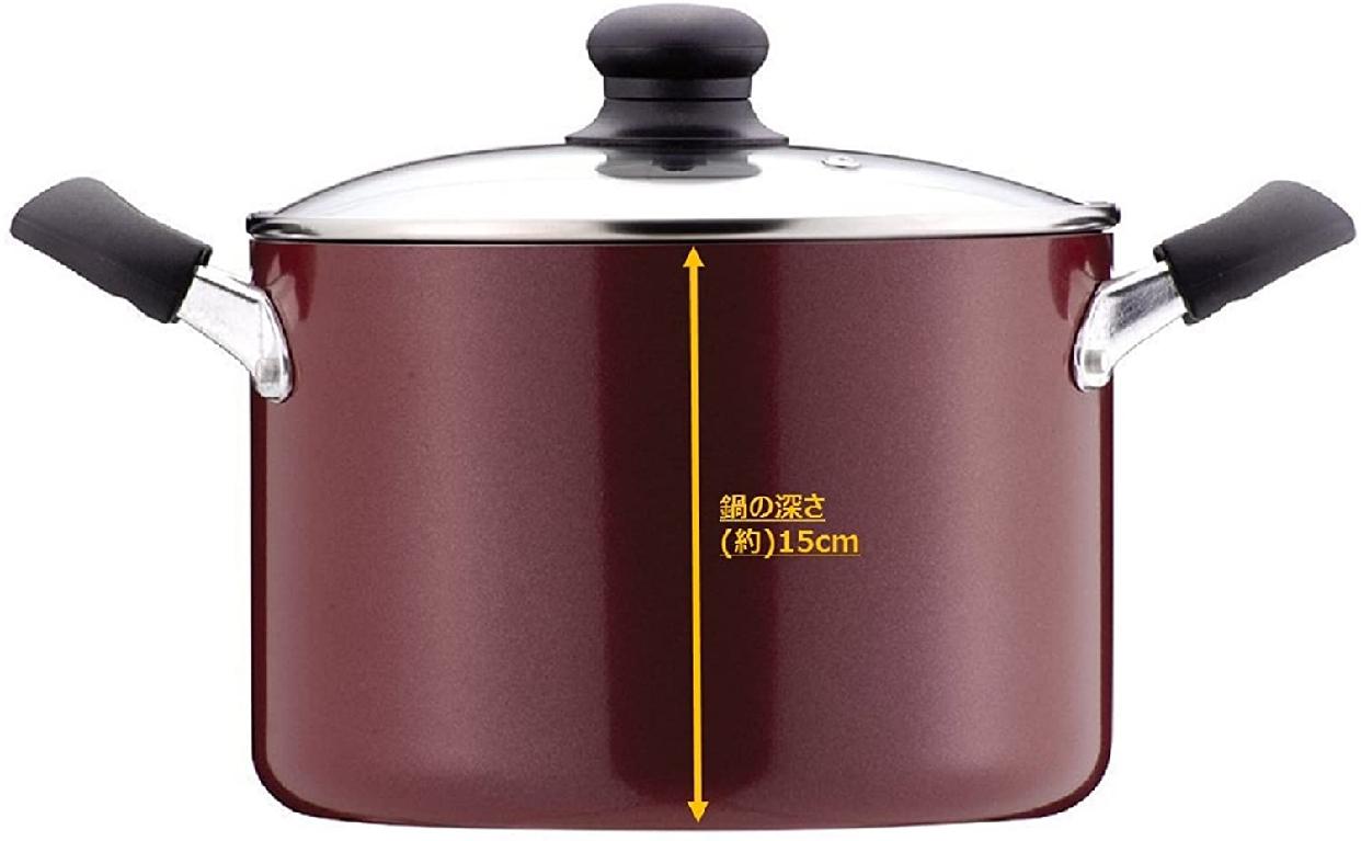 MAMAdinner(ママディナー)ふっ素加工IH対応ガラス蓋付カレー・シチューポット22cm レッド H-2094の商品画像3