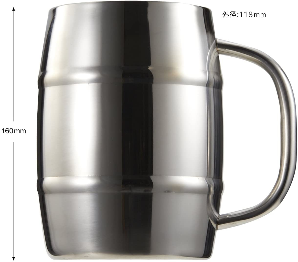 CAPTAIN STAG(キャプテンスタッグ) ビールジョッキ ダブルステンレス 樽型 1.0L UH2001の商品画像2