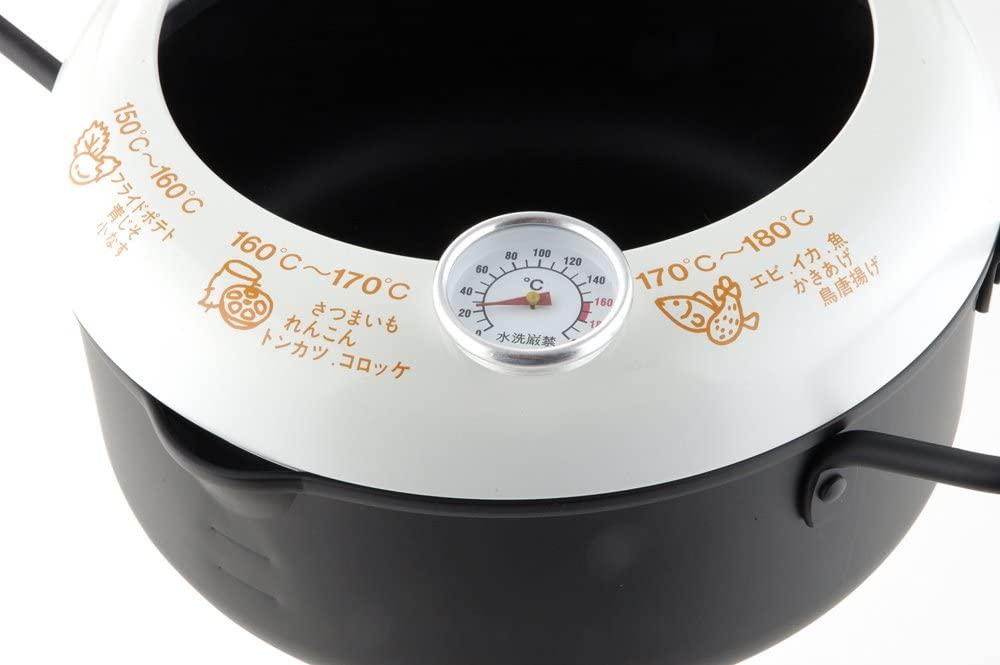 ヨシカワあげた亭 温度計付き天ぷら鍋20cm ブラック SH9257の商品画像4