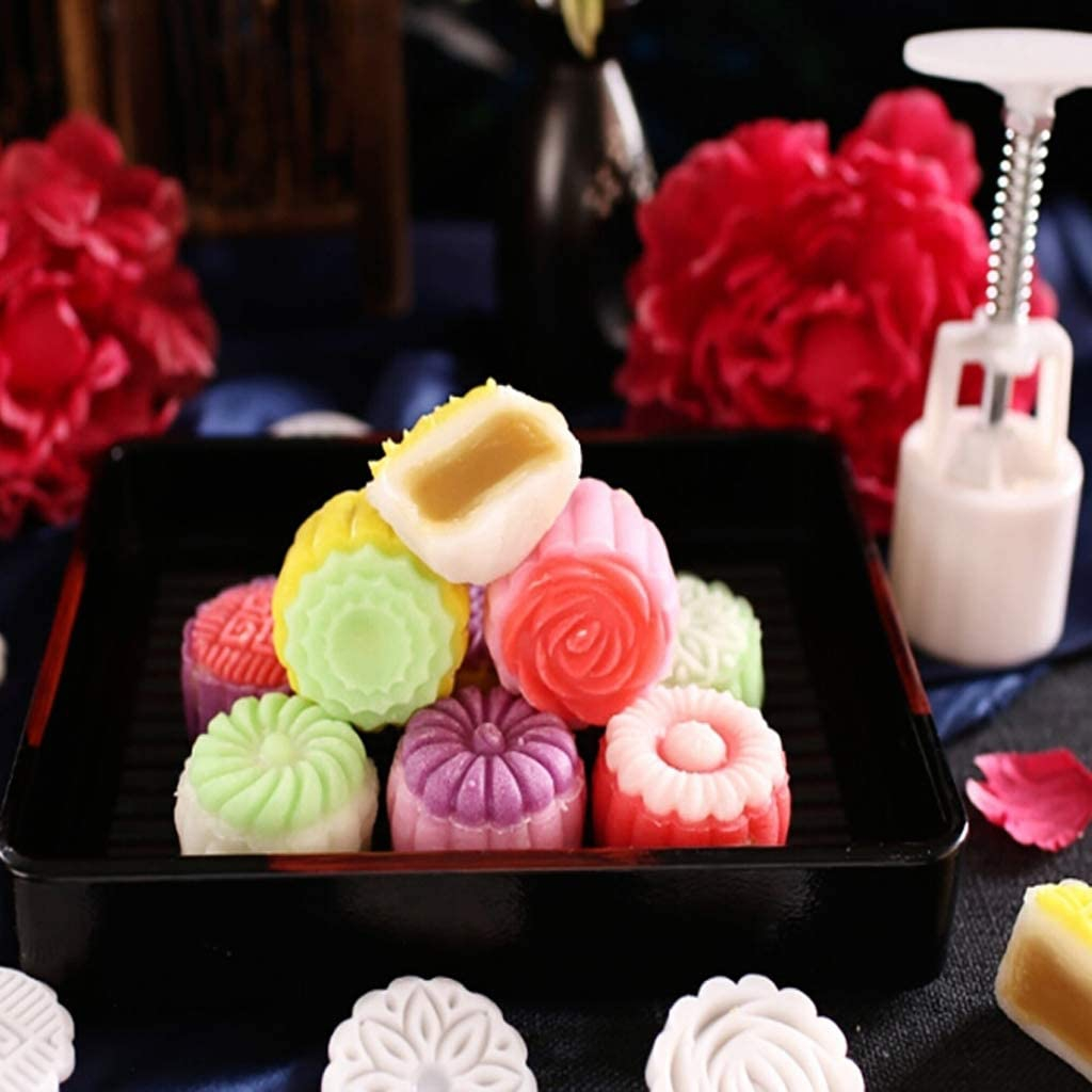 ブルーダースト 125gムーンケーキ型4スタンプ花の装飾DIYハンドプレスビスケットペストリー型 ホワイトの商品画像6