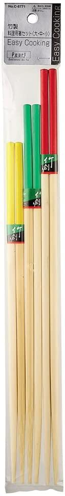 パール金属(PEARL) Easy Cooking 竹製料理用箸セット 赤・緑・黄 C-8771の商品画像2
