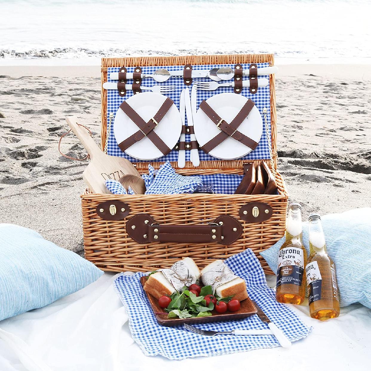 Roots & Beach(ルーツアンドビーチ)4人用 ピクニックバスケット カトラリー お皿 ワイングラス付 ブラウン RB-PB-1001の商品画像6
