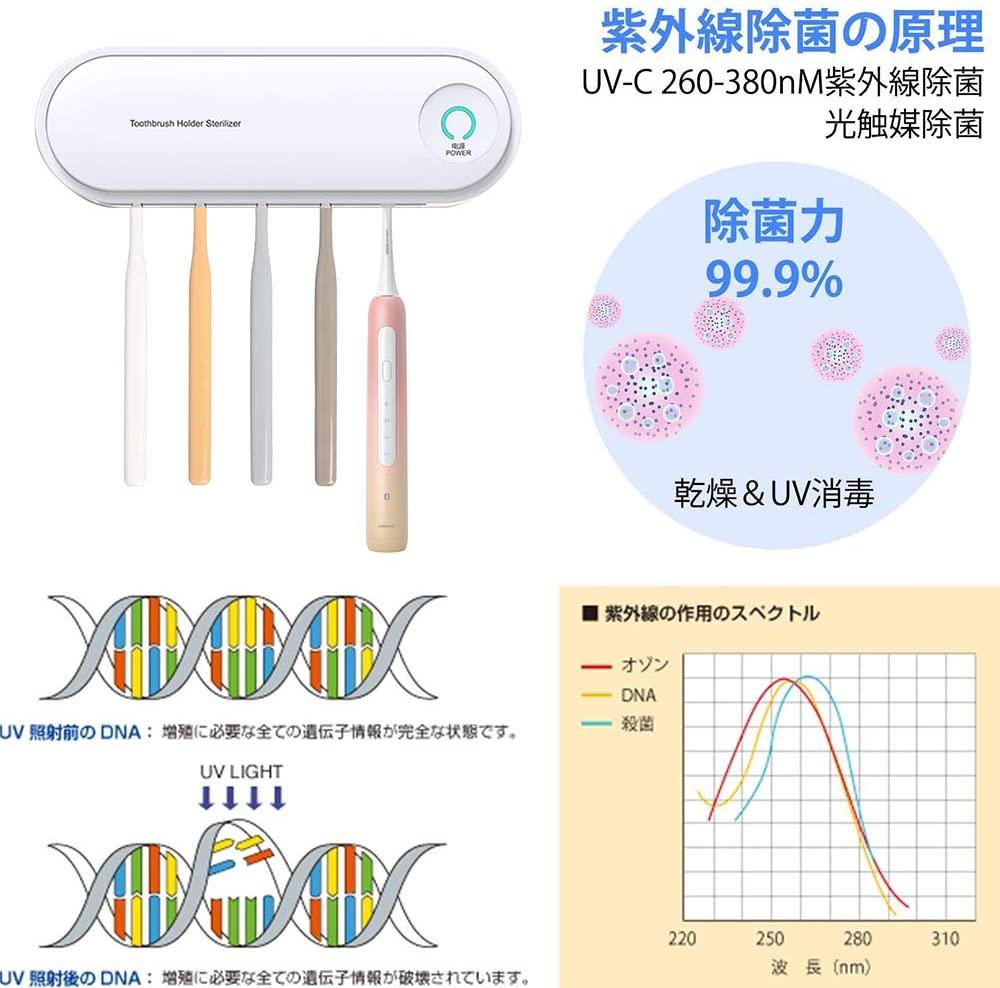JCT(ジェーシーティー) 歯ブラシ除菌器 UV紫外線殺菌消毒の商品画像5