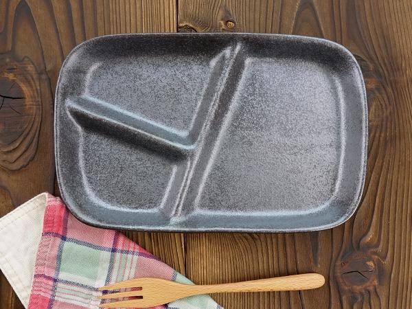 K'sキッチン(ケーズキッチン) 粉引 スタックランチプレート ブラック 22.7cmの商品画像3