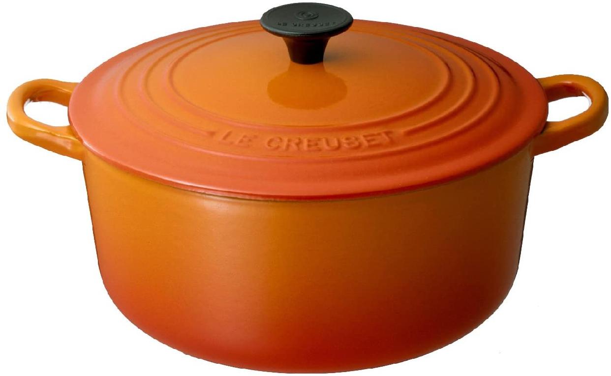 LE CREUSET(ル・クルーゼ)シグニチャー ココット・ロンド (ブラックツマミ) 20cm オレンジの商品画像