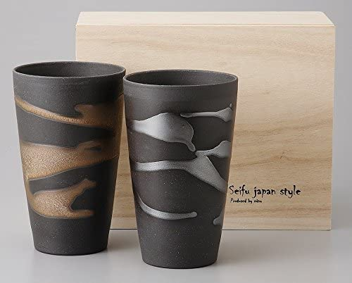 Ale-net(エールネット) 金昇窯 金銀流し 泡立ちカップペア 木箱入の商品画像