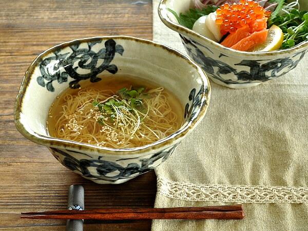 M'home style(エムズホームスタイル) ラーメン鉢 美濃焼 手書きたこ唐草 19.5cmの商品画像