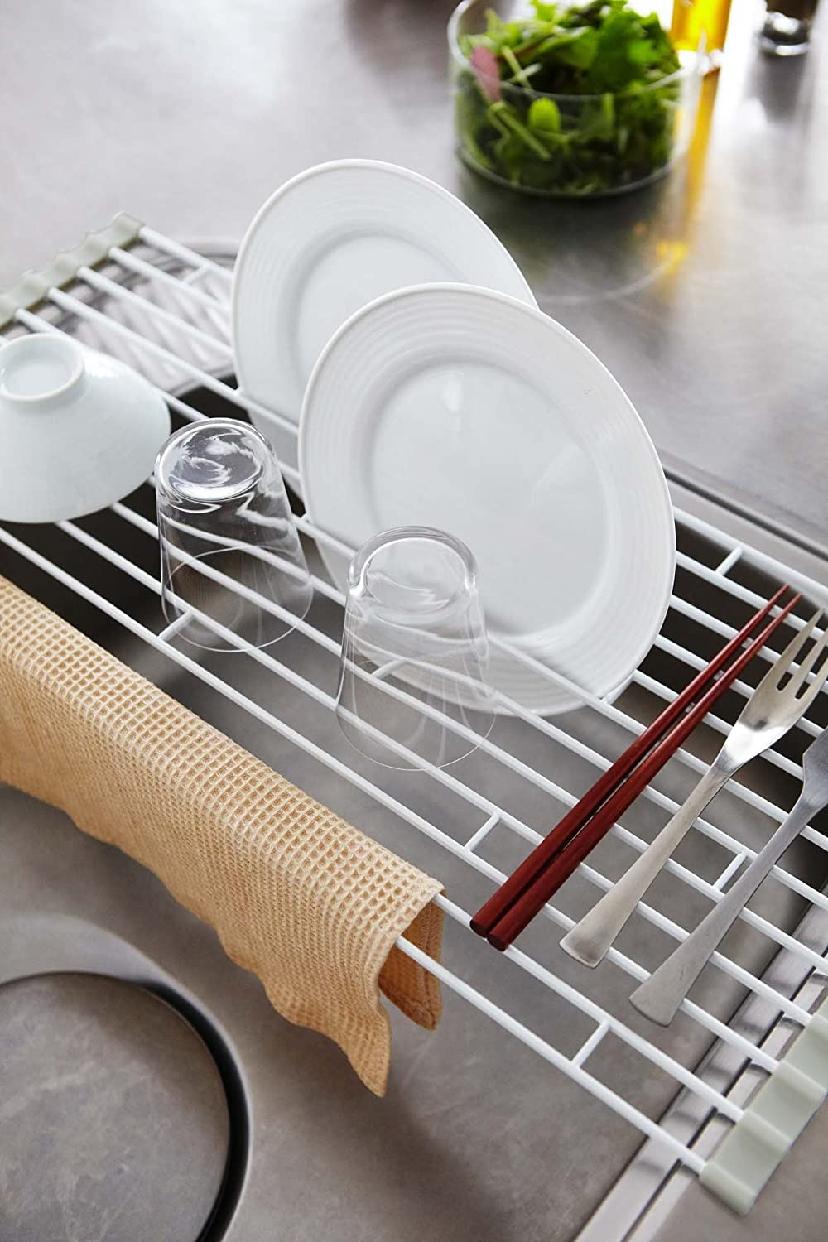 山崎実業(Yamazaki) 折り畳み水切りラック プレート L 7846 ホワイトの商品画像5