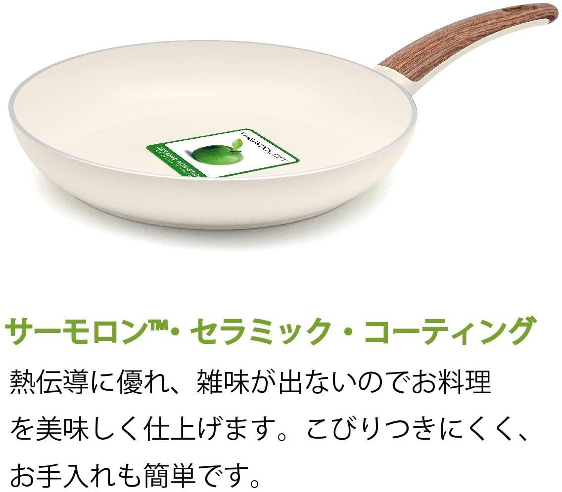 Wood be(ウッドビー) ミニウォックパン ふた付き 20cm ホワイトの商品画像3