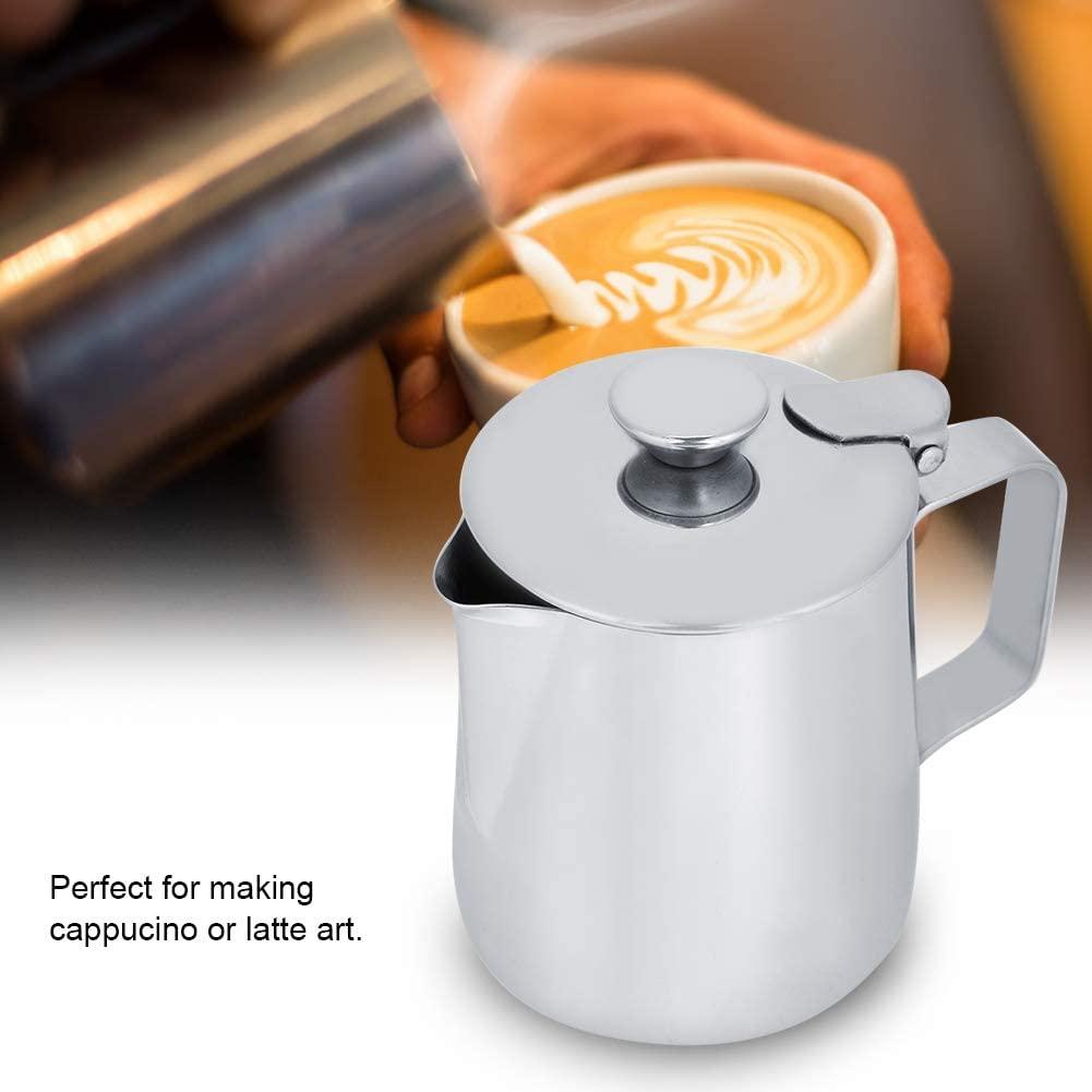 Filfeel(フィルフィール)ラテアート用カバー付きミルク泡立てピッチャーステンレススチール 250ml シルバーの商品画像8