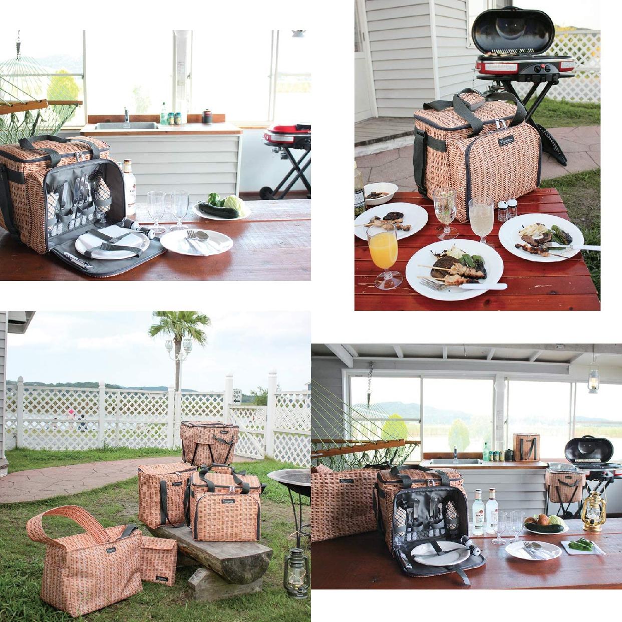 SPICE OF LIFE(スパイスオブライフ)バカンス 4人用食器付きクーラーピクニックバスケット パニエ ブラウン SFVG1611の商品画像5