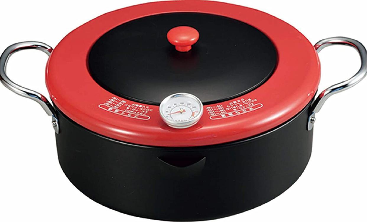 中央産業(チュウオウサンギョウ) 温度計付天ぷら鍋 揚げま専科 レッド 24cmの商品画像