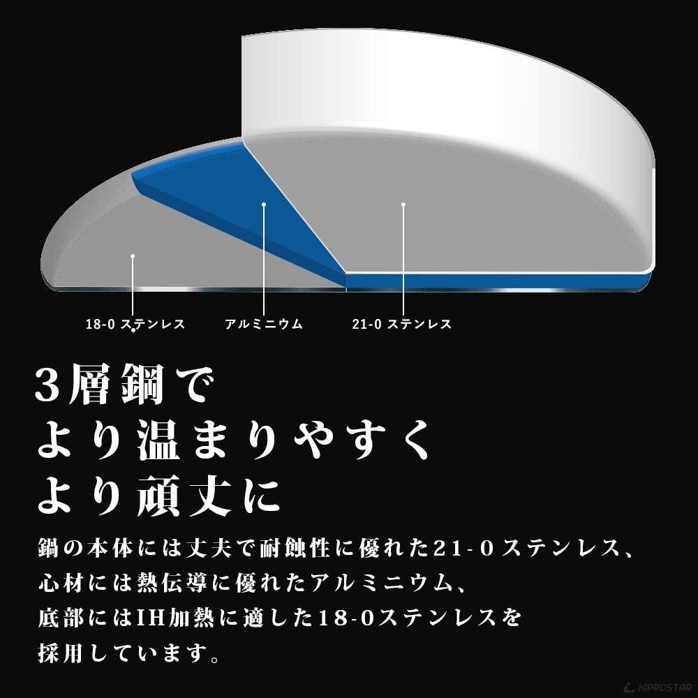 KIPROSTAR(キプロスター) IH対応ステンレス半寸胴鍋(蓋付)の商品画像8