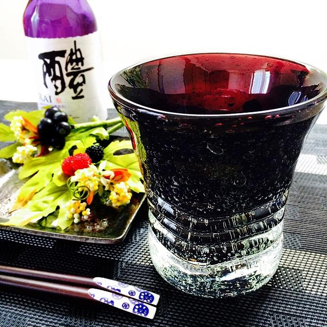 くば笠屋(くばがさや)黒紫泡グラスの商品画像2