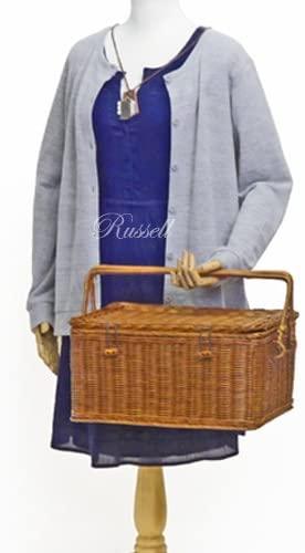 Russell(ラッセル)型番569 手折れハンドル付き 籐かご・ラタンバスケット・ピクニック ブラウンの商品画像6
