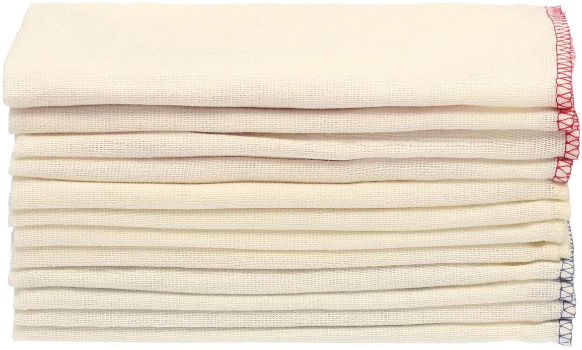 無印良品(むじるしりょうひん)落ちワタ混ふきん12枚組 縁カラー付の商品画像