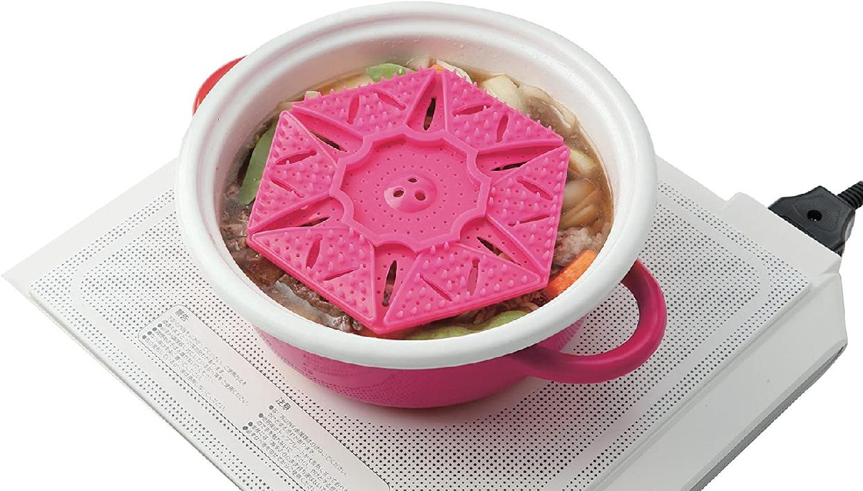 SUN FAMILY(サンファミリー)サンファミリー サイズが変わる あく取り落とし蓋 ピンクの商品画像5