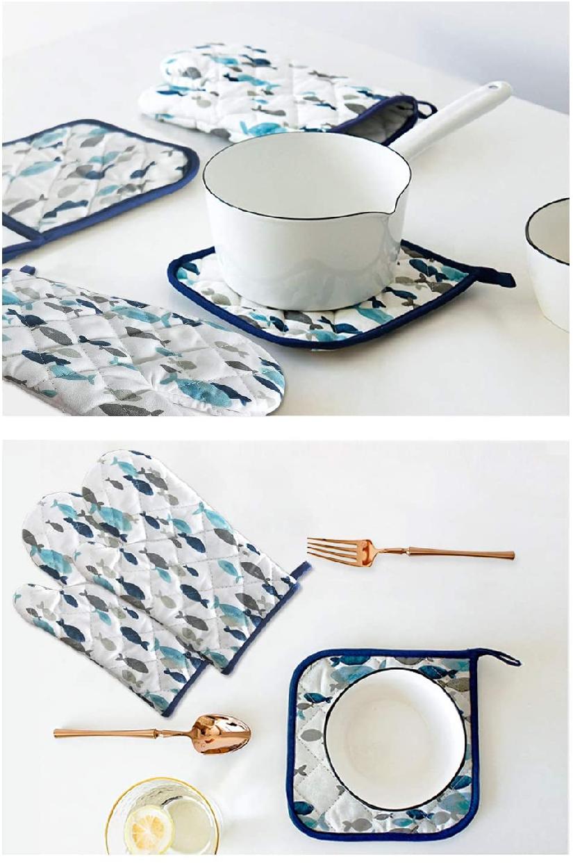 careme(カレーム) 耐熱鍋つかみ 耐熱ミトン 北欧デザイン (柄1)ホワイト×ブルーの商品画像5