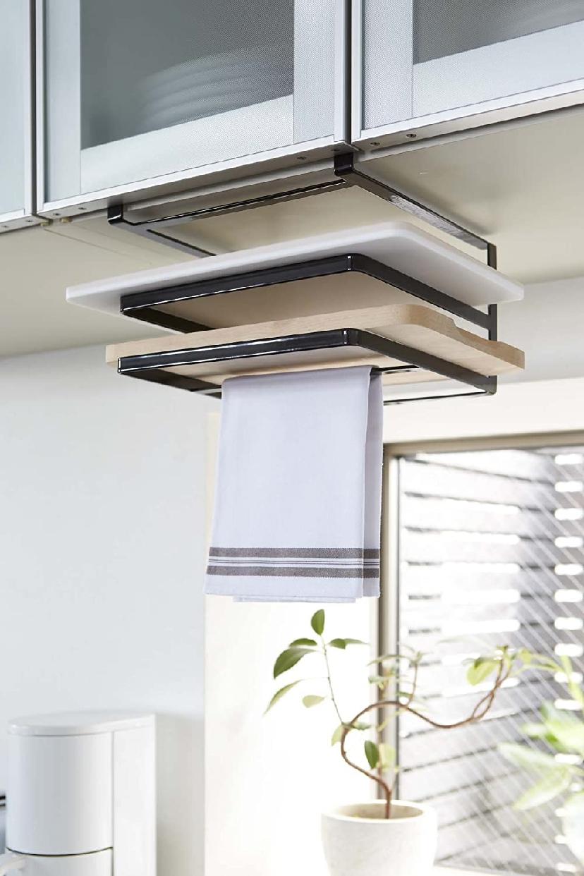 山崎実業(Yamazaki) 戸棚下まな板&布巾ハンガー タワー 2494の商品画像2