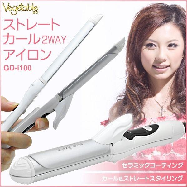 ジー・ディー商事(ジー・ディーショウジ) 2WAY カールアイロン&ストレートヘアアイロン  GD-i100の商品画像