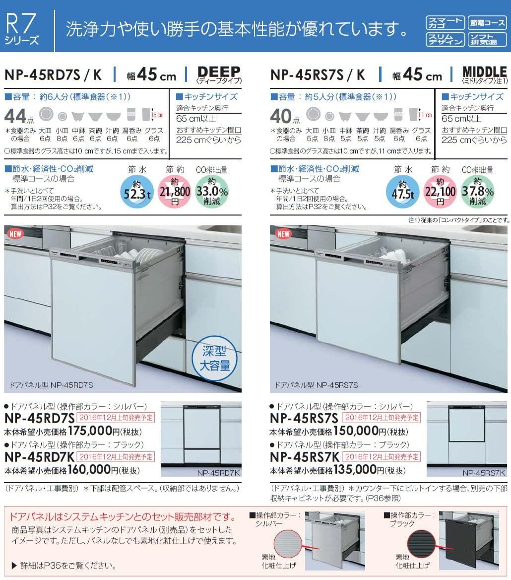 Panasonic(パナソニック) 幅45cm FULLオープン R7シリーズ /ミドル NP-45RS7S(シルバー)の商品画像2