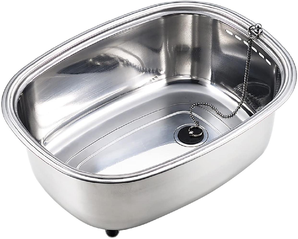 Arnest(アーネスト) 脚付 ステンレス 洗い桶 中栓付き A-75435 ステンレスの商品画像