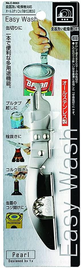 パール金属(PEARL) Easy Wash 食洗機対応オールステンコルク抜付三徳缶切 C-8663の商品画像
