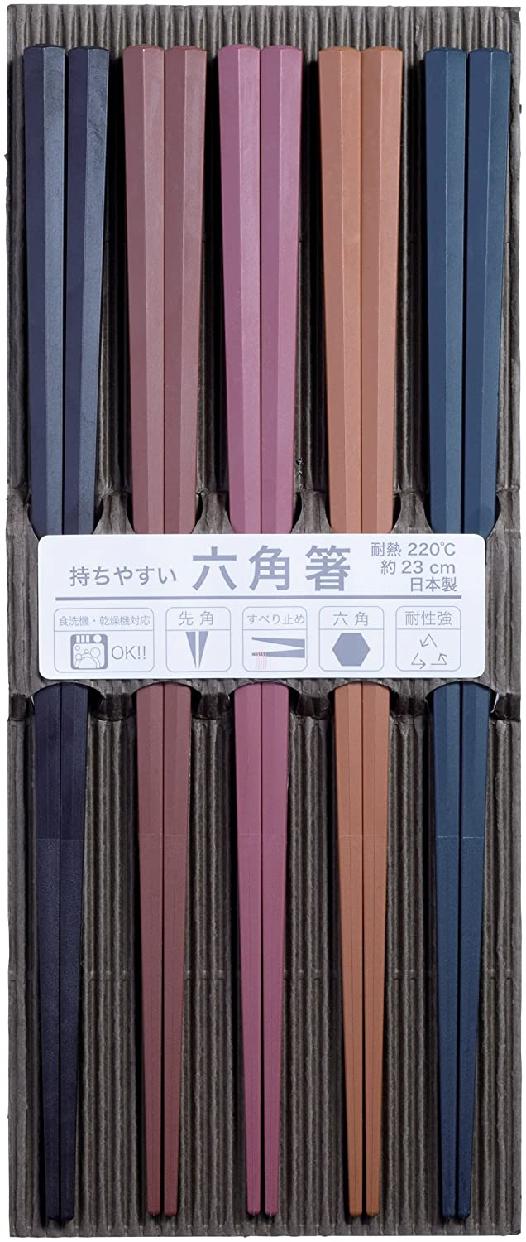 SUNLIFE(サンライフ) 彩り六角PBT箸 23cm 5膳セット 316450の商品画像
