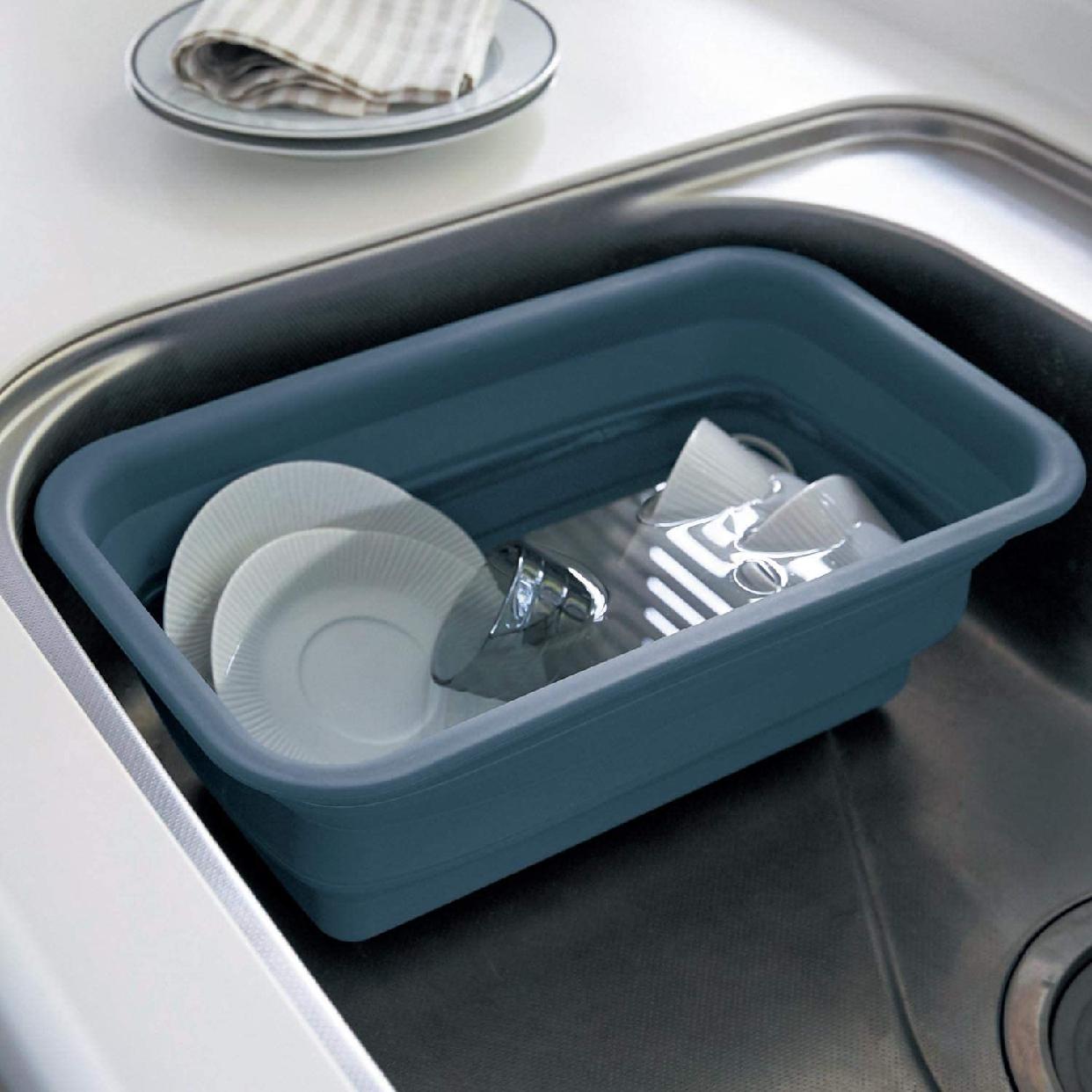 BELL MAISON(ベルメゾン) ステンレス芯材入りの折りたためるシリコーンゴム製スリム洗い桶 グレーの商品画像2