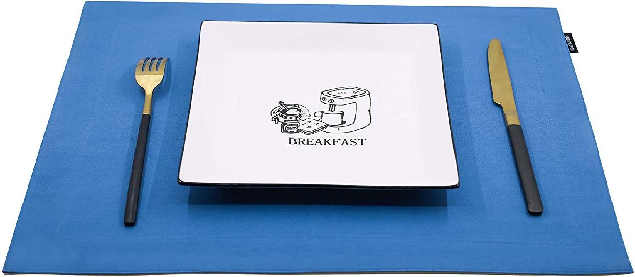 GUAERGUOER(ジーオーイーアールジーユーオーイアー)コットンプレースマット-4枚 B1アクアブルー+白)の商品画像2