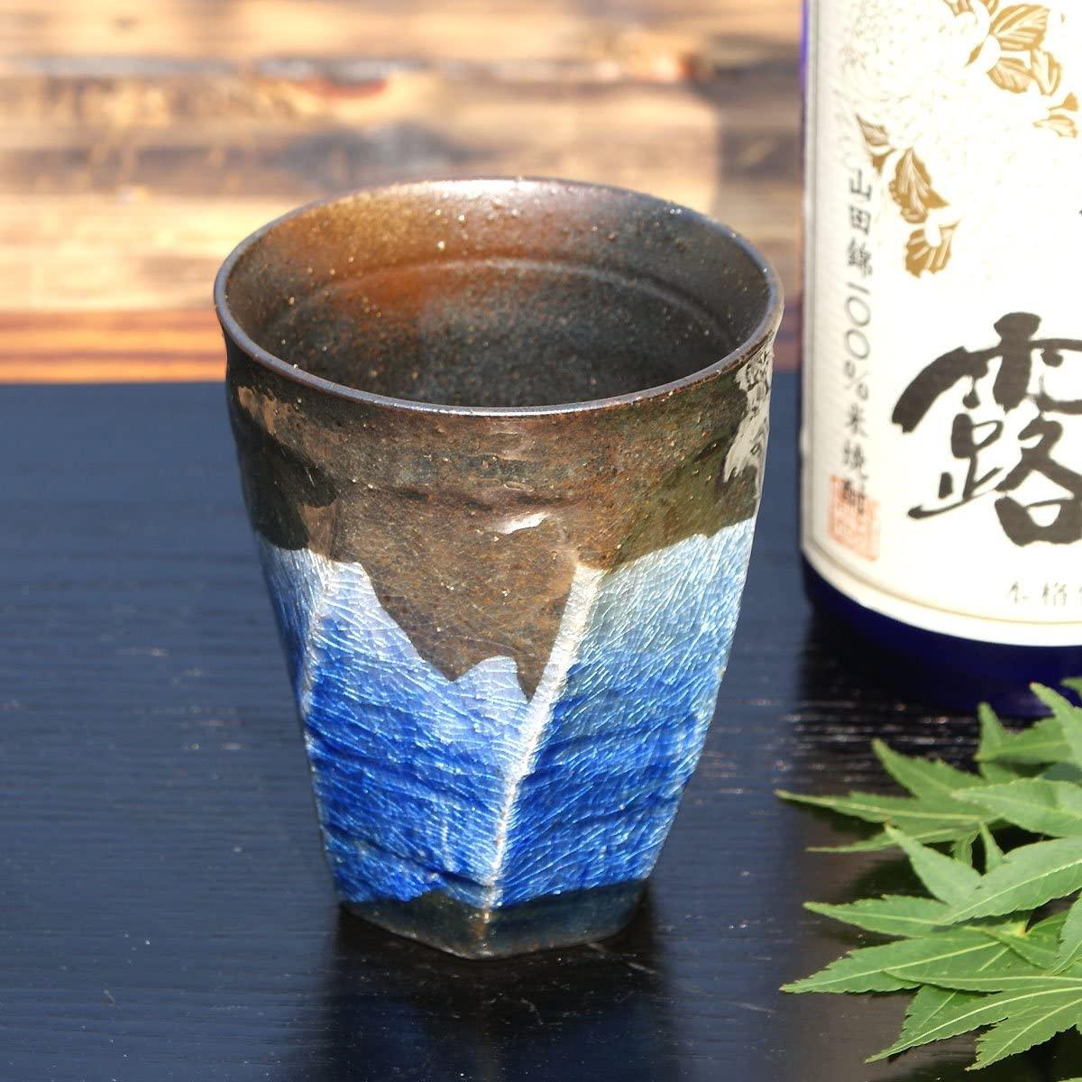 九谷焼(くたにやき)陶器の荒削り 焼酎グラス 銀彩(ブルー)の商品画像