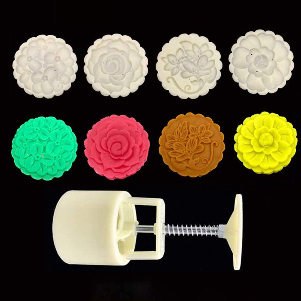 ブルーダースト125gムーンケーキ型4スタンプ花の装飾DIYハンドプレスビスケットペストリー型 ホワイトの商品画像3