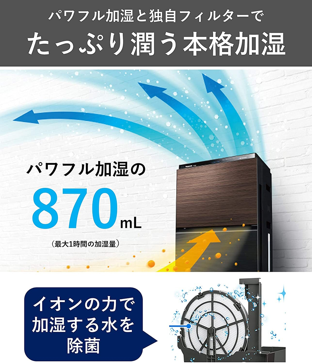 Panasonic(パナソニック) 加湿空気清浄機 F-VXT90の商品画像5