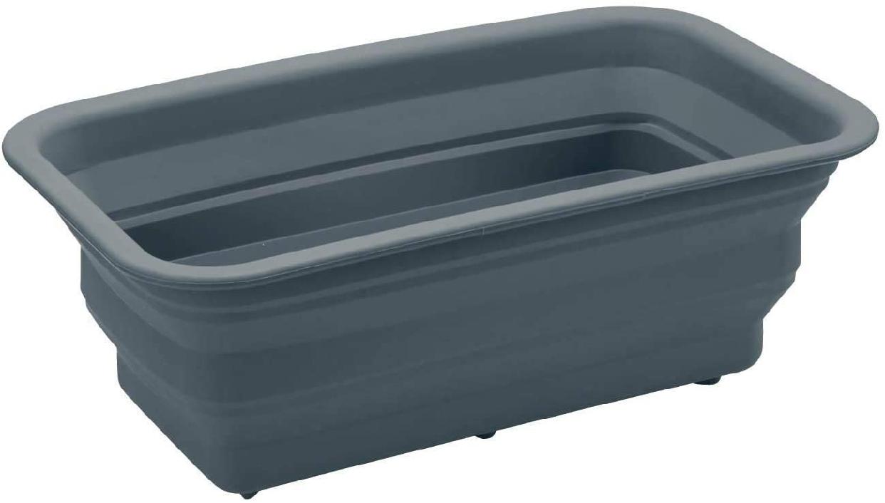 BELL MAISON(ベルメゾン) ステンレス芯材入りの折りたためるシリコーンゴム製スリム洗い桶 グレーの商品画像