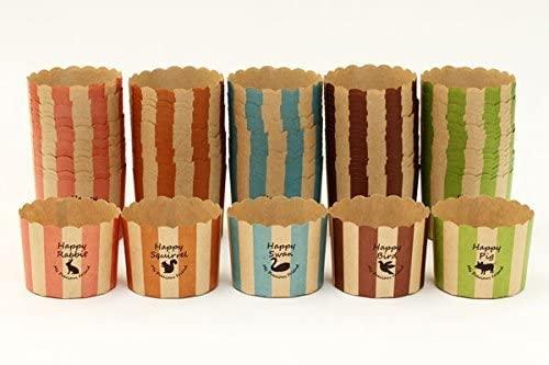 天満紙器(テンマシキ)マフィンカップM アニマル アソート100枚 5色×20枚 FBAT164-168の商品画像